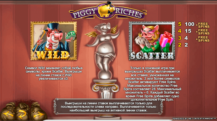 Вайлд и скаттер на автомате Piggy Riches